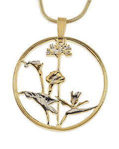 """# 547 Orchid Pendant Necklace South African Coin Hand Cut 1/"""" in Diameter,"""