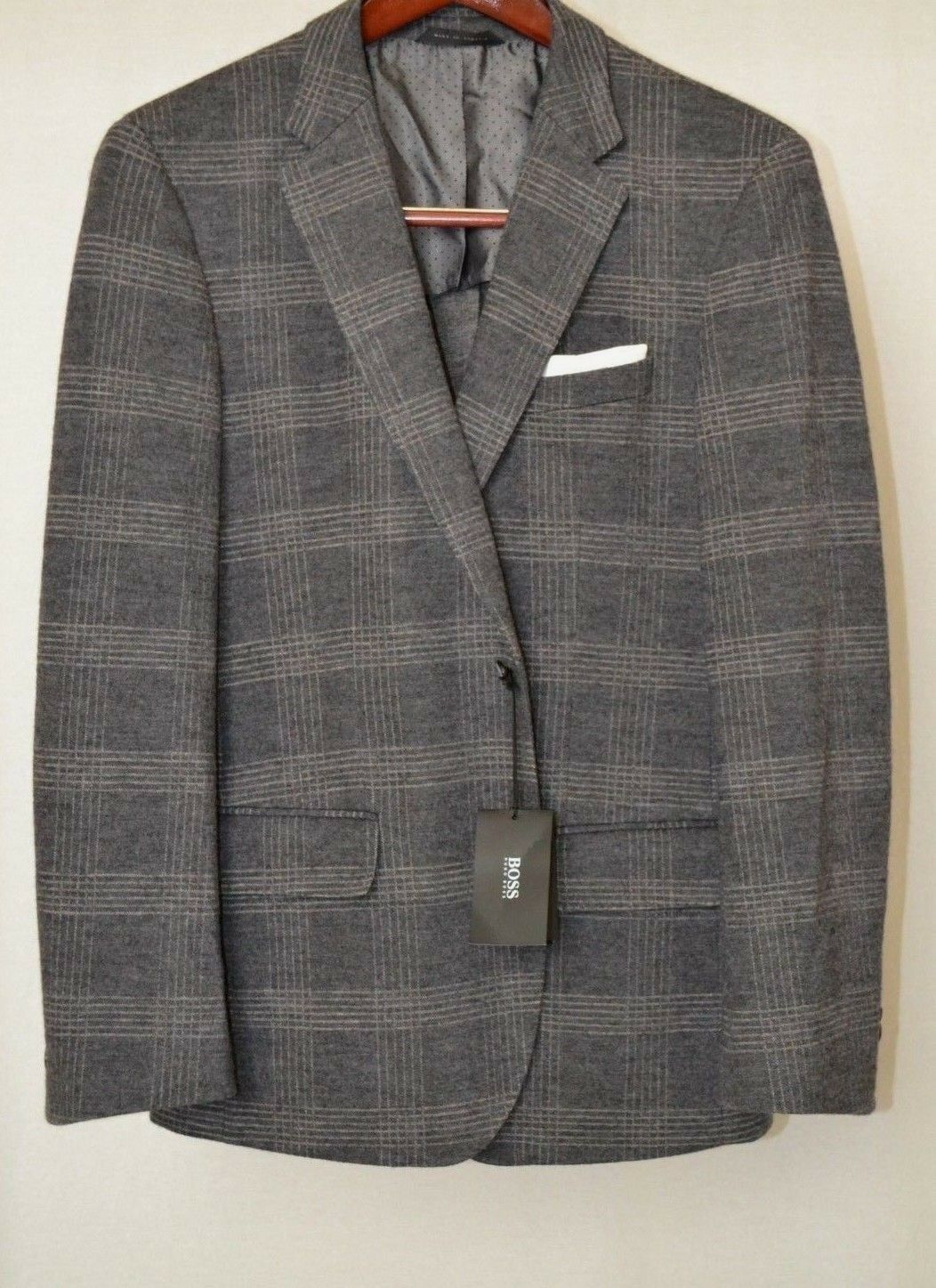 Hugo Boss Hadley4 Men's Flannel Med Grey Glen Plaid 40R Wool Cotton Sport Coat