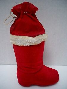 "VINTAGE 4"" RED FLOCKED SANTA BOOT CANDY CONTAINER 1920's 1940's- WESTERN GERMANY"
