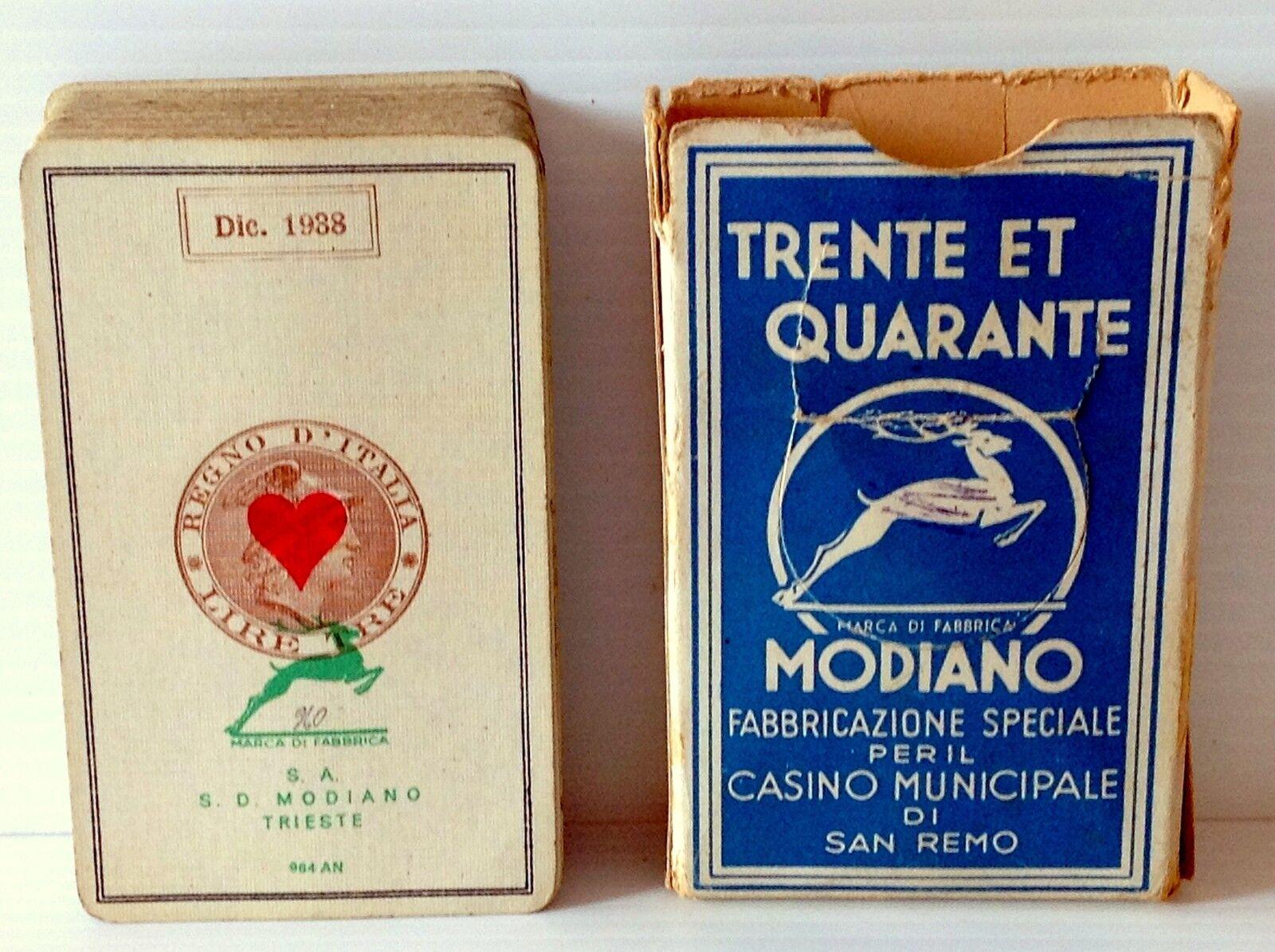 MAZZO DI CARTE- S.D.MODIANO TRIESTE 1938-CON ASTUCCIO- SPECIALE CASINO SAN REMO
