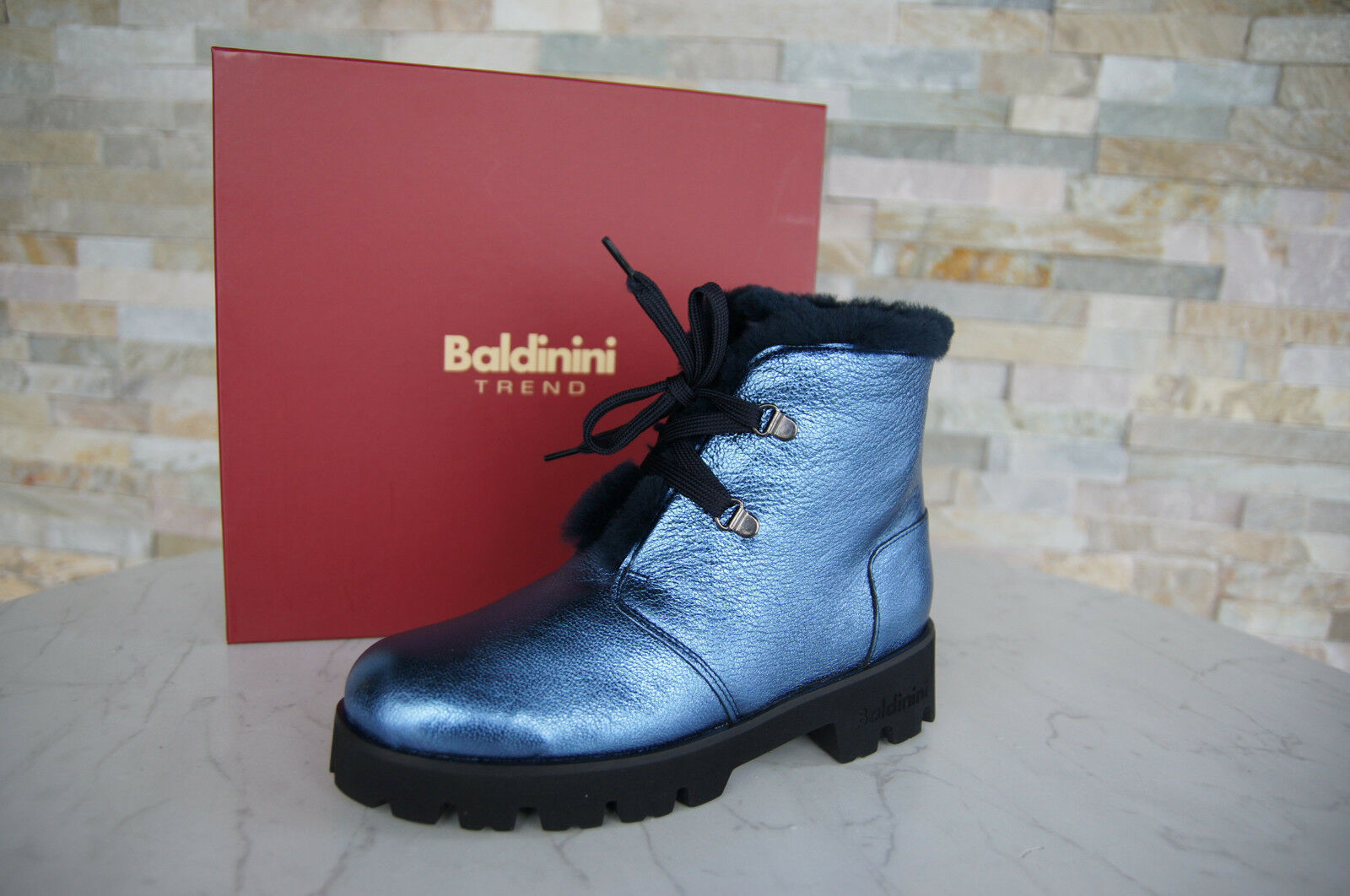 Baldinini Trend Size 39 Ankle Boots fur 848200 shoes bluee New Previously