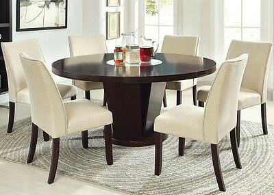 NEW 7PC FAIRMONT ESPRESSO FINISH WOOD ROUND DINING TABLE SET w/ LAZY SUSAN