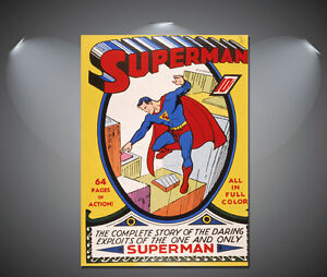 Superman Movie Vintage Art Deco Comic Poster A4 sizes A2 A3 A1