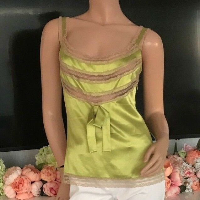 VALENTINO Sexy Silk Chartreuse Lime Green Lace Panel Blouse (retail )