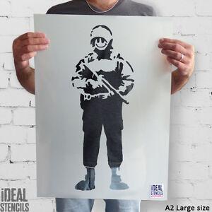 Banksy SMILEY Kupfer Schablone wiederverwendbar Kunst Malerei ideale Schablonen