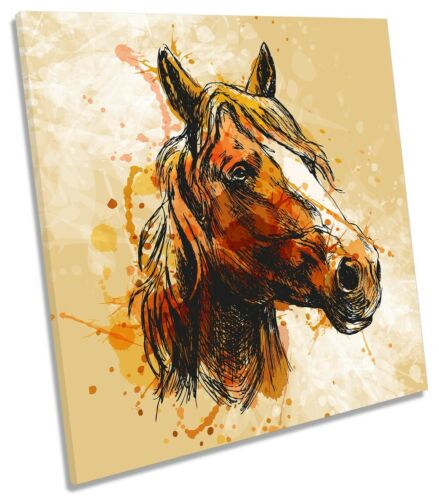 Horse Picture CANVAS WALL ART Square Print Brown