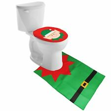 Christmas Decoration Elf Santa Toilet Seat Cover Bathroom Rug Xmas 2 Piece Set