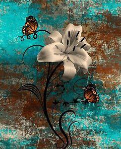 Teal Brown Butterflies Lily Modern Rustic Home Decor Wall Art Matted