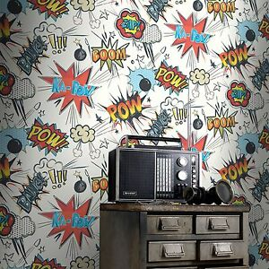 Das Bild Wird Geladen Rasch Kapow Bang Comic Mehrfarbig Kinder Schlafzimmer  Tapete