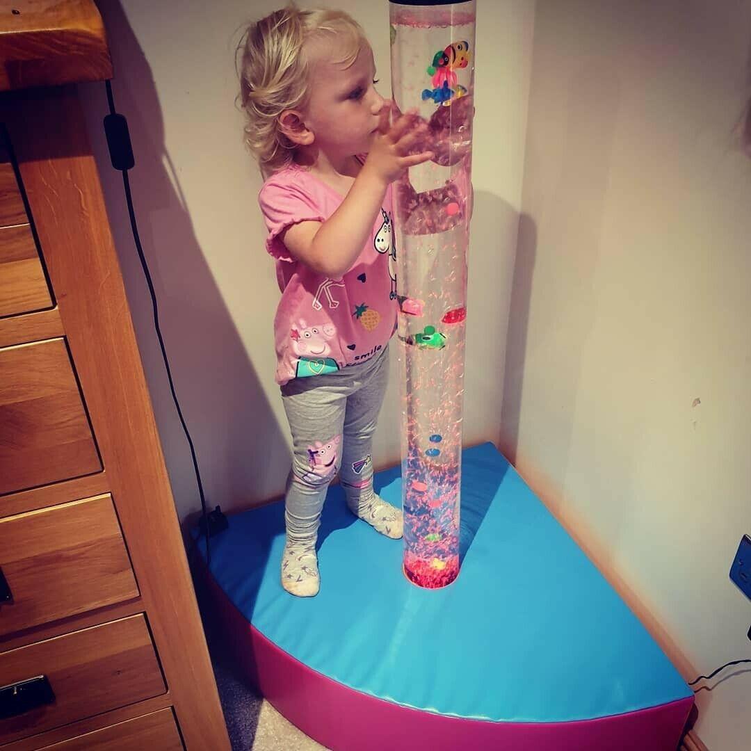 Mini Corner bubble tube curved plinth. Sensory soft play area.