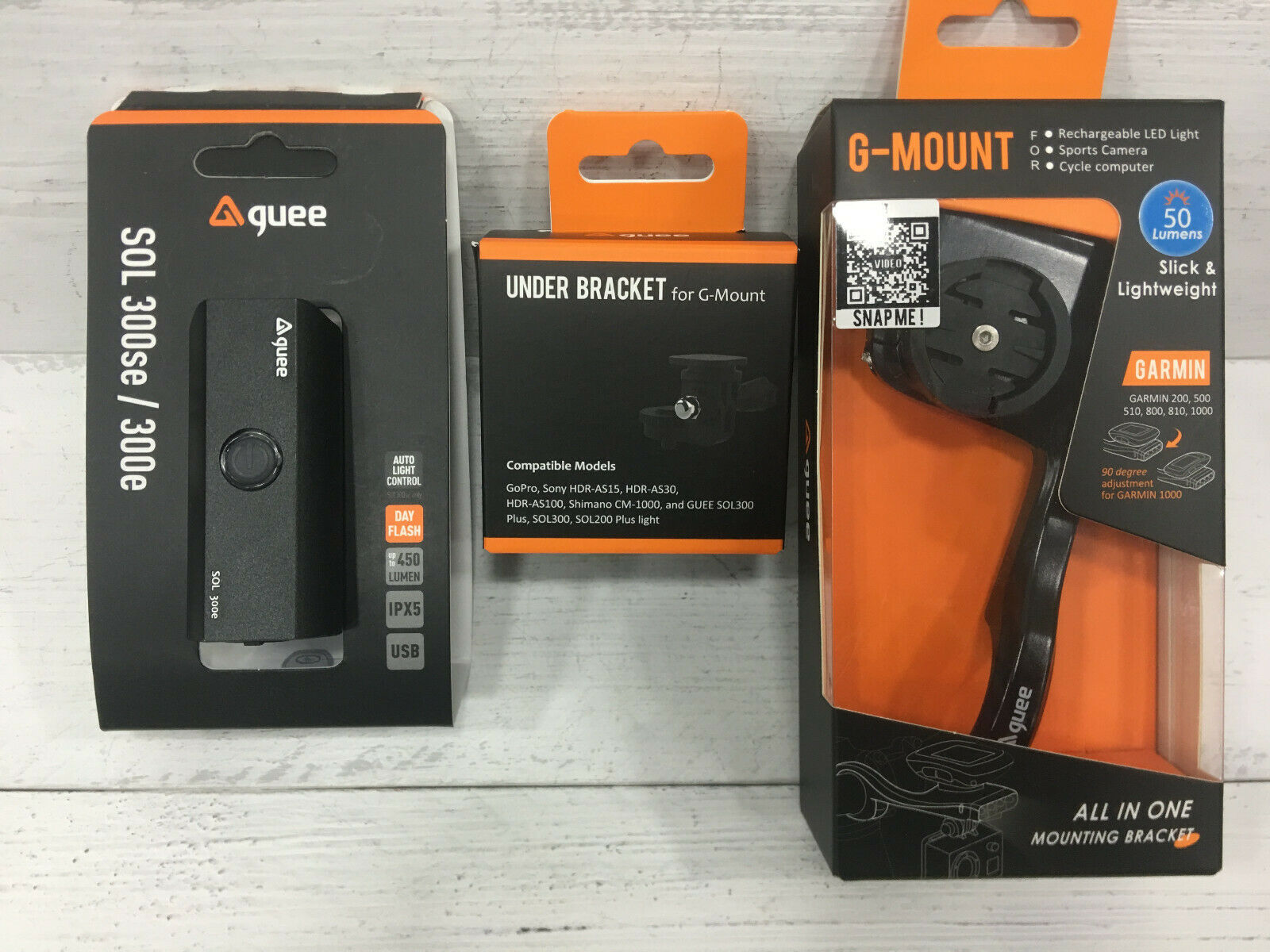 Guee Smart Mount to fix Garmin, GoPro and Front Light Combo