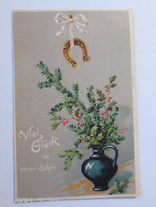 034-New-Year-Vase-Twig-Horseshoe-034-1907-Embossed-Postcard-15986