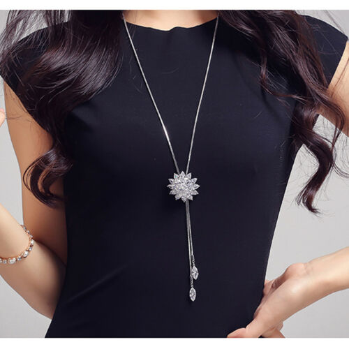 Ladies Fashion Flower Sweater Chain Charm Rhinestone Necklace Accessories New J