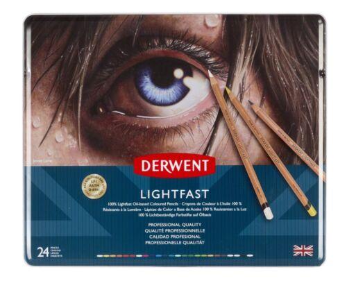 Derwent resistente a la luz de calidad profesional Artista Lápices de Color de Base de Aceite 24 conjunto de estaño