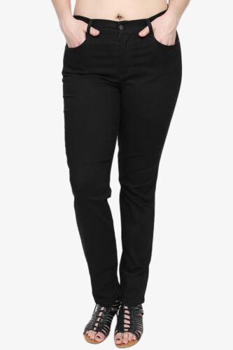 TheMogan PLUS SIZE Basic Mid High Rise Stretch Skinny Jeans In Soft Black Denim