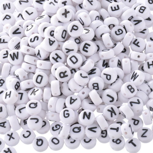 "Wholesale Lots Mixed Acrylic Alphabet Letters /""A-Z/"" Round Spacer Beads 7mm Dia."