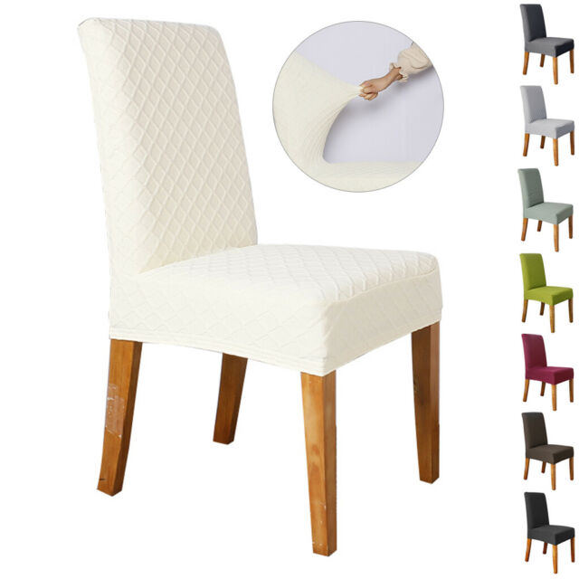 Chair Covers 6x Soft Spandex Fit Stretch Short Dining Room with Velvet