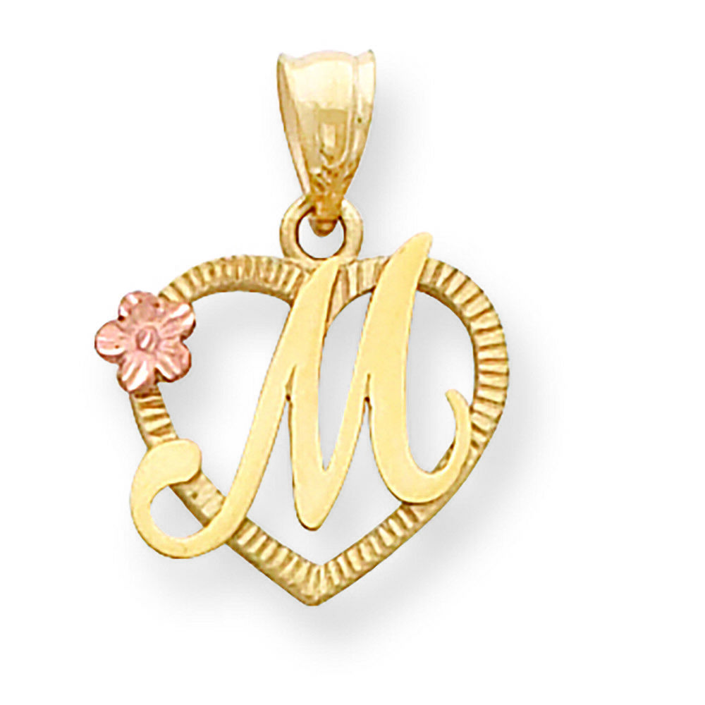 14K Two-tone gold Initial M in Heart Charm Pendant MSRP  209