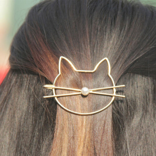 1PC Fashion Hollow Cute Cat Hair Pin Imitation Pearl Hairpin For Women Girl OW