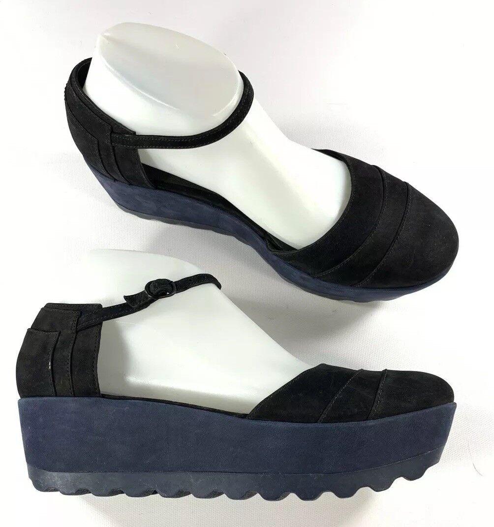 Plataforma Plataforma Plataforma de Cuero Camper Laika d 'Orsay Azul Negro Zapatos Talla 40 EE. UU. 10 Nuevo Sin Caja  tienda en linea