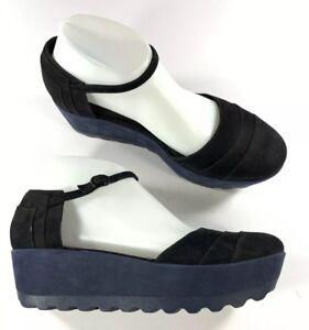 Camper-Laika-Leather-Platform-D-039-orsay-Blue-Black-Shoes-Size-40-US-10-NWOB
