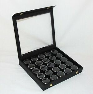Gem-Storage-Attached-Top-Case-25-Jars-Black-Foam