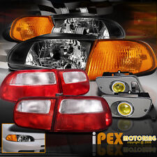 1992-1995 Honda Civic 2Dr JDM BLACK Headlight +Signals +Yellow Fog+Tail Light EG