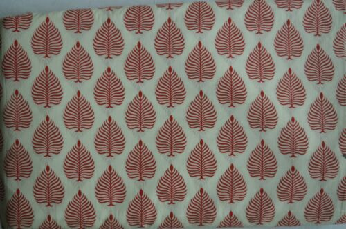 Indian Handmade Block Print Fabric By 5 Yard Ethnic Cotton Voile Leaf Fabric #