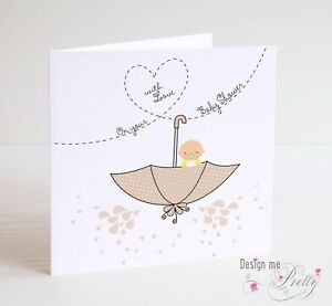 Baby Shower Card For Baby Boy Or Girl New Baby Pregnancy Cute Neutral Colour Ebay