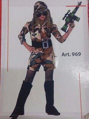 Vestito Costume Carnevale Militare Bambina 5 6 7 8 9 Anni