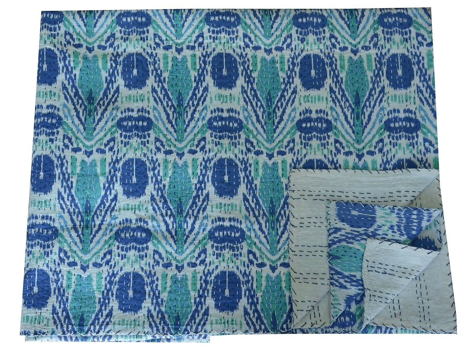 Ikat Kantha Blau Quilt Bedspread Handmade Queen Throw Blanket