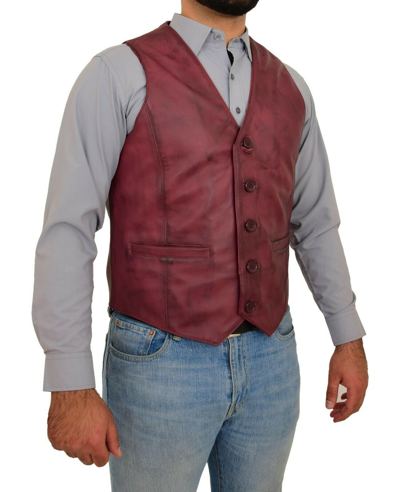 herren Full Burgundy leder Waistcoat Traditional Smart Gilet Sleeveless Vest NEW