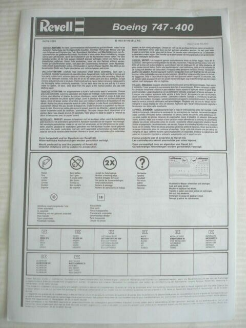Revell Boeing 747-400 Lufthansa 1/144 Scale decals & instructions only new