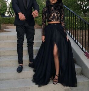 Two Piece Black Prom Dresses Long Sleeve Formal Side Split Evening