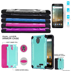 huge discount b9a0d aff05 Details about Phone Case for AT&T ZTE Maven 3 Tempered Glass Textured  Dual-Layered Cover