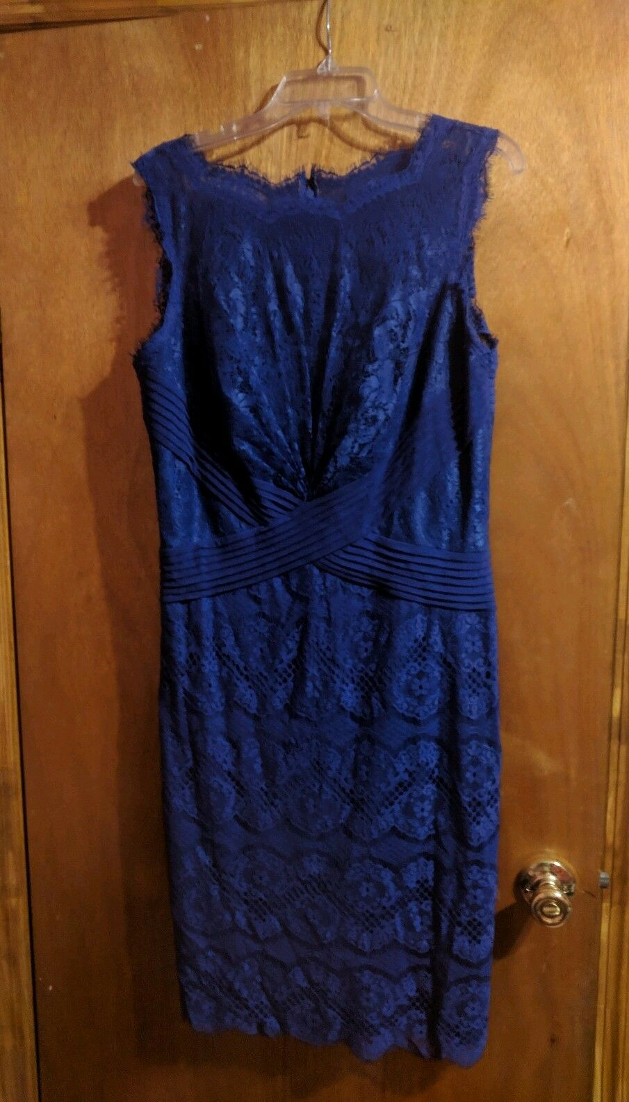 Tadashi Shoji Dress 14 bluee Lace Sleeveless Classic Elegant Pleated