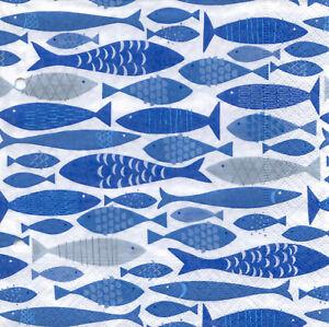 Servietten-33x33-20St-783-Kommunion-Konfirmation-Taufe-Fische-blau-weiss