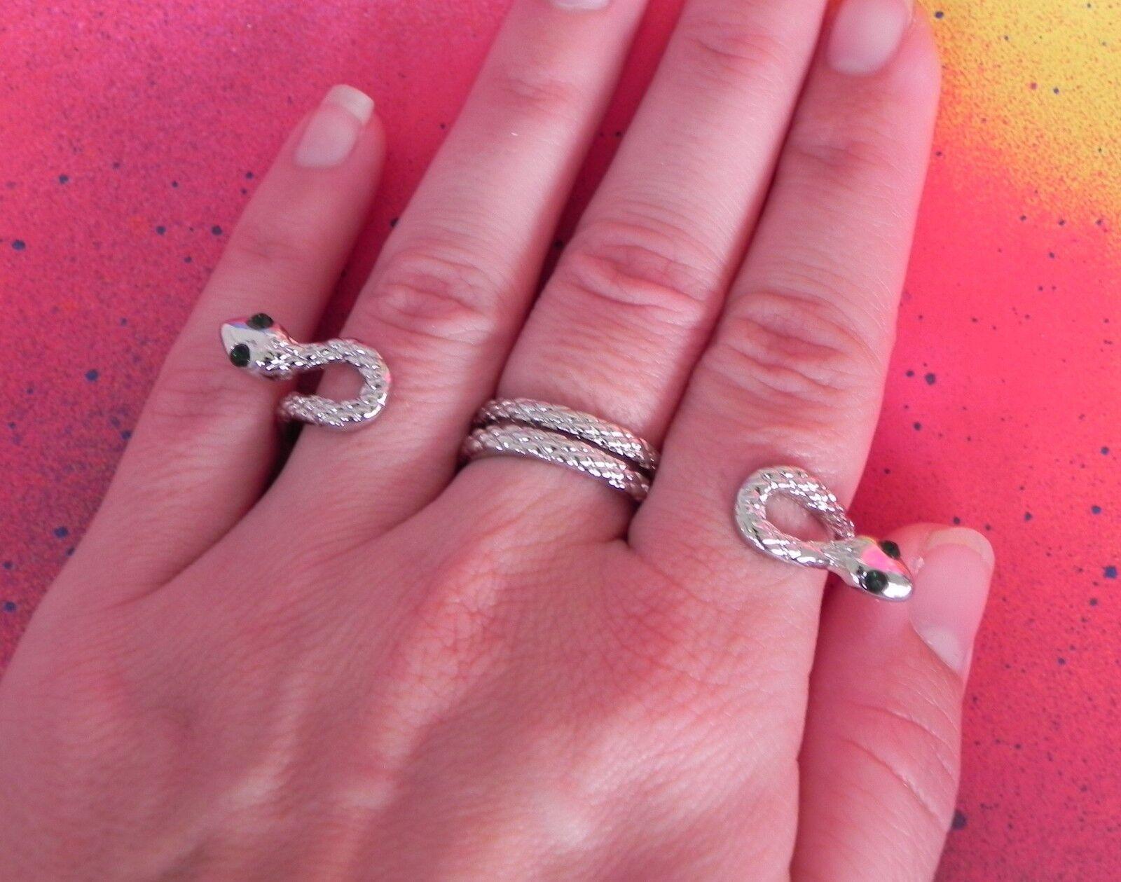 Snake Triple 3 Double Finger Silver Rhinestone Brass Knuckle Ring