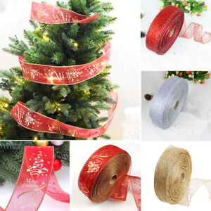 200*5CM Glitter Ribbon Lace Christmas Xmas Tree Decor Wedding Party Ornament