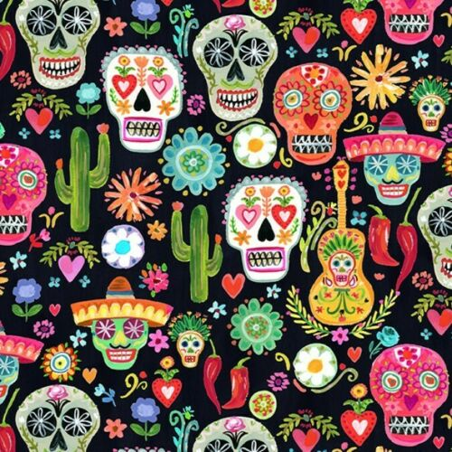 Viva Mexico Day of the Dead Skulls Cotton Multiple Size Dear Stella Fabric
