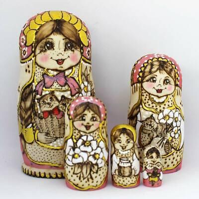 hand painted #6 Big Russian Semenov Nesting dolls Matryoshka set 10 pcs h=11/'