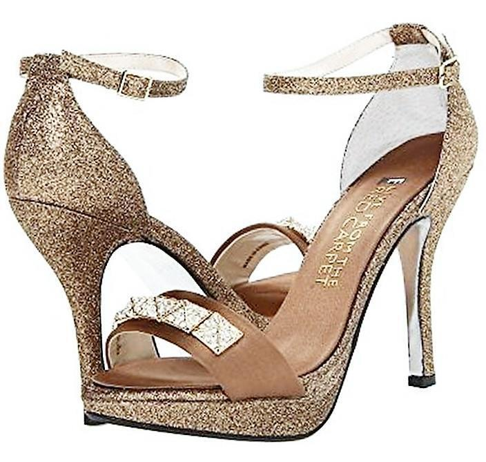 E  LIVE FROM THE RED CARPET   189 OLIVIA gold PLATFORM SHOES HEELS SIZE 8.5 NIB