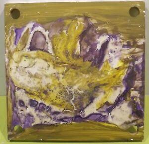""""""" Composition Abstraite """" Acrylique/technique Mixte Plaque De Bois Unsign"""