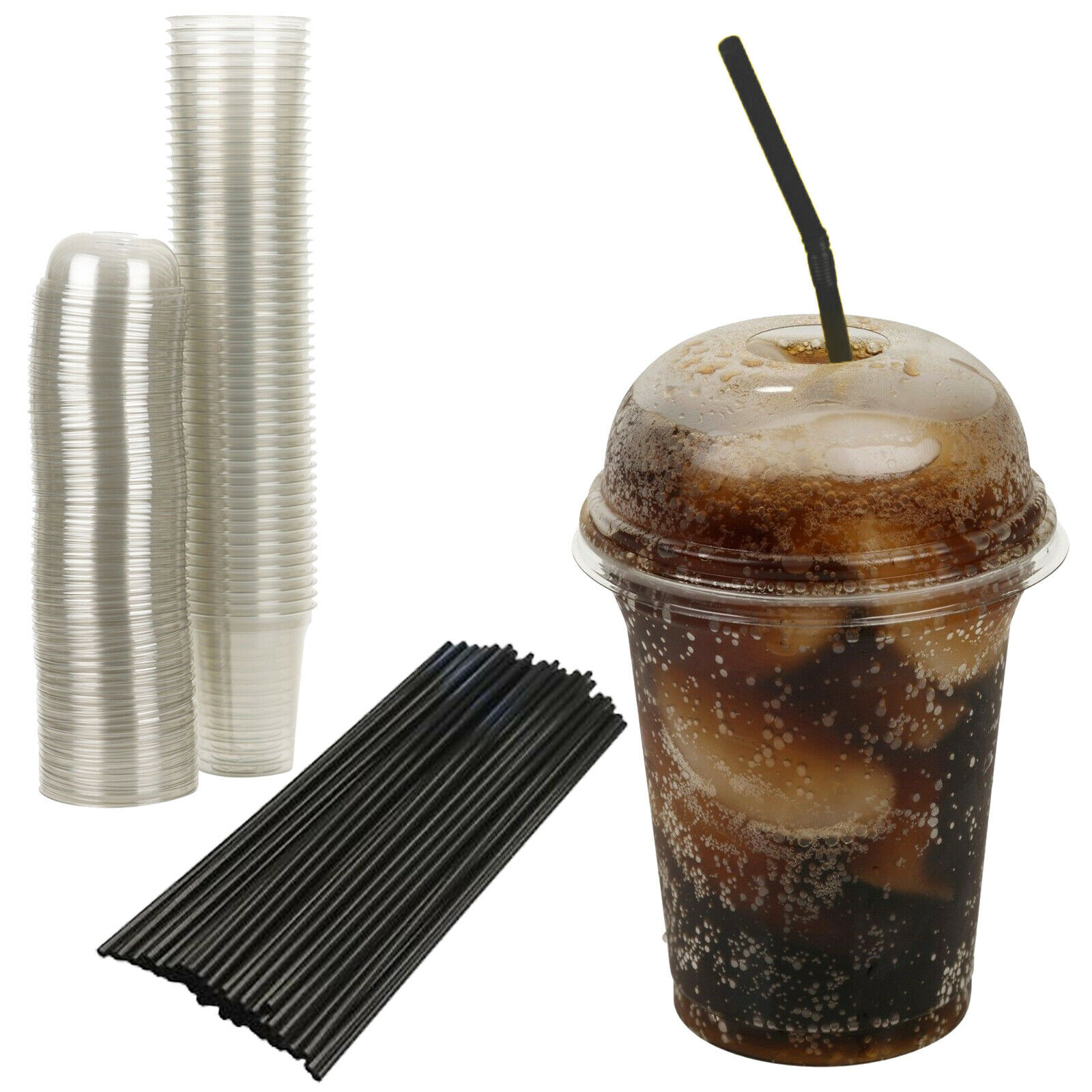 12oz Disposable Smoothie Cups Domed Lids Clear Plastic Party Milkshake w Straws