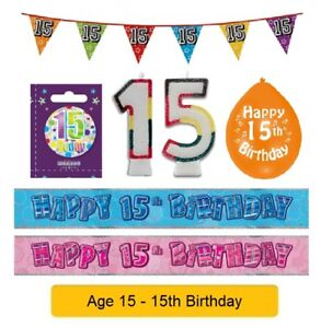 Image Is Loading AGE 15 Happy 15th Birthday Party Banners Balloons