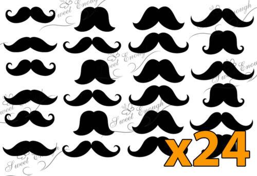 24 Black Moustache Precut Edible Card Rice Paper Cupcake Cake Toppers fashion