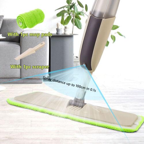 Magic Spray Floor Mop with Reusable Microfiber Pads 360°Handle Flat Mops Kit Set