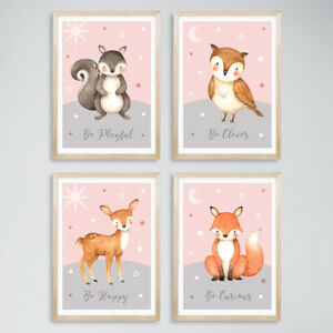 Animal Baby Girl Nursery Prints Childrens Bedroom Decor Pictures Blush Pink Grey Ebay