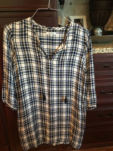 MADEWELL SHIRTDRESS Long Sleeve Plaid Blue Sz.Smal