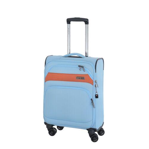 March READY Skyblue/Orange 55cm Bordcase Reisekoffer Handgepäck Stoff Trolley